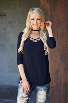 Criss Cross My Heart Top - Black – The Pulse Boutique
