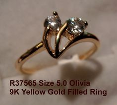 ArtRevu Size 5.0 Clear Cubic Zirconia 9K Yellow Gold Filled Women's Ring  #ArtRevu