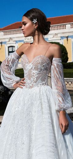 spaghetti straps sweetheart neckline embellishment ball gown wedding dress #wedding #weddinggown #weddingdresses #weddingdress #wedding #weddingideas #weddings #weddingdresses #weddingdress #bridaldress #bridaldresses