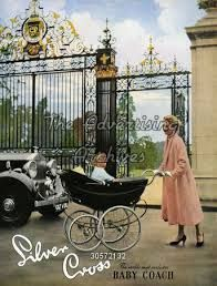 What a beautifully majestic setting for this 1959 Silver Cross advertisement – very fitting indeed for the world's most exclusive baby coach. The elegantly-dressed lady is pushing the luxurious Silverdawne, which was newly launched at the time. Vintage Stroller, Vintage Pram, Retro Vintage, Vintage Soul, Pram Stroller, Baby Strollers, Silver Cross Prams, Prams And Pushchairs, Baby Buggy