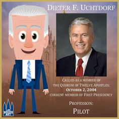 President Dieter F. Uchtdorf was called as second counselor in the First Presidency of The Church of Jesus Christ of Latter-day Saints on February 3, 2008. He was sustained as a member of the Quorum of the Twelve Apostles of the Church on October 2, 2004. He has served as a General Authority since April 1994.  .  .  #PresUchtdorf #ldsconf #lds #mormon #LDS #JesusChrist #Christian #quote #efy #sharegoodness #TwitterStake