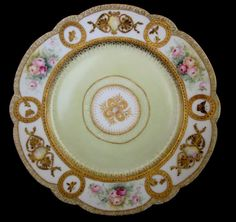 1880s Limoges Hand Painted Plate Roses & Gold Overlay Butterflies, Dragonflies & Bumblebee