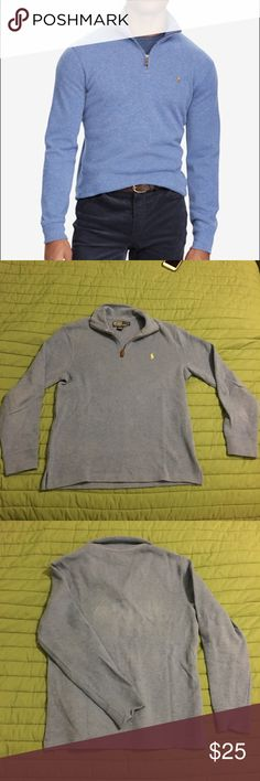 Polo Ralph Lauren Men's Quarter Zip The color of the sweater is seen in first picture, my actual pictures had weird colors, but it's actually the same color as in the picture (except the horse is yellow). Polo by Ralph Lauren Sweaters Zip Up