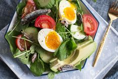 Soft Egg, Avocado, and Anchovy Salad