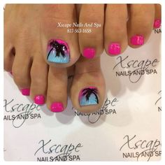 Hot pink - Lavender - Sky blue - Black - Ombre - Palm trees - Toenail design Discover and share your nail design ideas on https://www.popmiss.com/nail-designs/ Nail Design, Nail Art, Nail Salon, Irvine, Newport Beach
