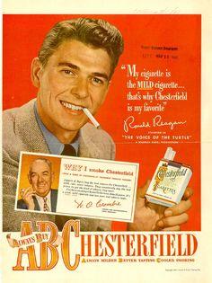 Vintage Cigarette Ads - Chesterfield & Ronald Reagan