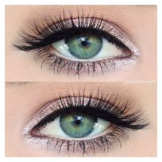 "Makeup Artist on Instagram ""Simple sparkly pink #eotd using just 2 ey ❤ liked on Polyvore featuring beauty products, makeup, eyes and eye makeup"