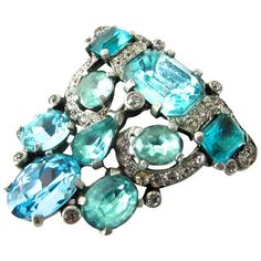 Shop diamond and pearl brooches and other antique and vintage brooches from the world's best jewelry dealers. Vintage Costume Jewelry, Vintage Costumes, Vintage Jewelry, 1940s, Jewelry Box, Fine Jewelry, Jewellery, Red Jewel, Aquamarine Gemstone