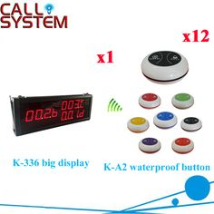 Waiter Bell Buzzer System For Restaurant High Quantity Strong Signal With Factory Price With 433.92( 1 display+12 call button )