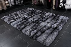 Luxurious SAGA silver fox fur carpet made from natural Scandinavian silver foxes. Size: 200 x 140 cm = square meters, 78 by 55 inches