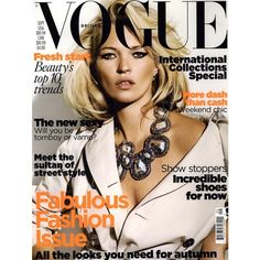 Vogue British Cover September 2009 - MyFDB ❤ liked on Polyvore featuring covers and kate moss