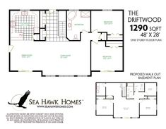 Ranch floor plans with walkout basement new beautiful e story house plans w Bungalow Floor Plans, Basement Floor Plans, Basement Layout, Walkout Basement, Ranch House Plans, Basement Flooring, House Floor Plans, Four Bedroom House Plans, Two Storey House Plans