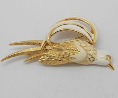 Vintage Mid-Century White on Gold Tone  Enameled  Bird Pin/ Brooch
