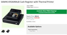Get Huge DISCOUNT of 43% OFF on SAM4S ER260RALB Cash Register with Thermal Printer. Onlypos provide FREE Shipping in Australia..!  http://www.onlypos.com.au/cash-registers/cash-register-sam4s-er260ralb