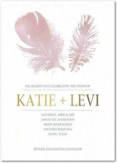 Delicate Plumes - Signature White Wedding Invitations - Magnolia Press - Tea Rose - Pink : Front