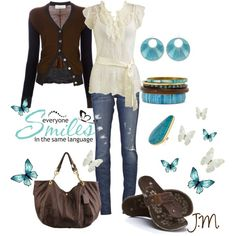 Turquoise and Brown, created by jenniemitchell on Polyvore