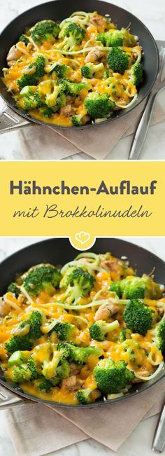 Chicken casserole with broccoli spirals-Hähnchen-Auflauf mit Brokkoli-Spiralen Broccoli spirals replace the calories, but are just as filling. Baked with tender chicken and spicy cheese, this can only go down well! Healthy Chicken Recipes, Low Carb Recipes, Cooking Recipes, Law Carb, Good Food, Yummy Food, Calories, Food Inspiration, Clean Eating