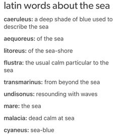 Latin words about the sea books/writing writing words, writi The Words, Fancy Words, Words To Use, Pretty Words, Cool Words, Beautiful Latin Words, Latin Quotes, Latin Phrases, Words Quotes