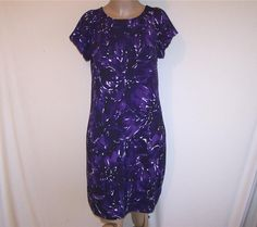 DAISY FUENTES Sz M Dress Purple White Spandex Stretch Short Sleeves Above Knee #DaisyFuentes #Shift #WeartoWork
