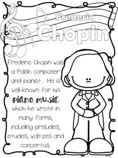 romantic composers coloring and fact sheets - Painting Sheets
