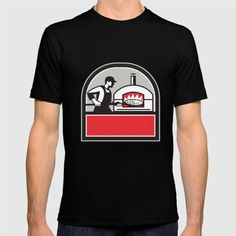 Pizza Cook Peel Wood Fired Oven Crest Retro Illustration of a baker pizza maker cook holding a peel with pizza pie into a wood fired oven viewed from side set inside shield crest done in retro style. #illustration #PizzaCook