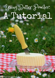 Butter Powder: A Tutorial Here's how to use butter powder, a super handy food -- no refrigeration required. Thrive Food Storage, Emergency Food Storage, Canned Food Storage, Emergency Preparedness, Emergency Preparation, Wise Foods, Long Term Food Storage, Gourmet Breakfast, Freeze Drying Food