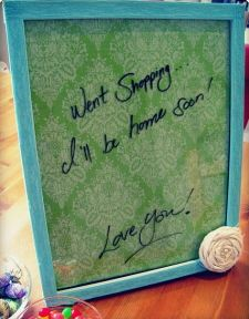 DIY dry erase board from picture frame and scrapbook paper