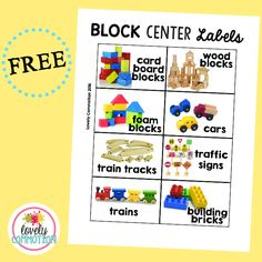Preschool Block Center Labels More Ideas and resources for a preschool, pre-k or kindergarten block center. Preschool Center Labels, Preschool Classroom Labels, Block Center Preschool, Preschool Centers, Learning Centers, Preschool Activities, Classroom Organization, Preschool Sign In Ideas, Kindergarten Labels