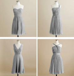 Grey chiffon bridesmaids dresses. #bridesmaids #grey
