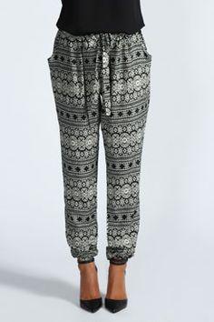 Danni Aztec Casual Hareem Trousers at boohoo.com