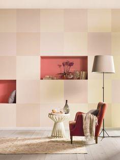 #Dambord effect op je muur: Met verschillende #tinten van eenzelfde kleur, krijg je geweldige effecten. Kleur in beeld: Flower Bulb, Café Latte en Soft Pearl (#Flexa Creations collectie)