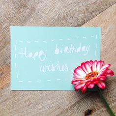 Happy birthday wishes  - postcard - birthday card, wishes, hand lettering, mint green, blue door XantheCS op Etsy