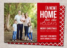 """Photo Christmas Card, New Address Card: PRINTABLE (""""New Home for the Holidays"""" We Moved Christmas card) by cardsetcetera on Etsy https://www.etsy.com/listing/202952741/photo-christmas-card-new-address-card"""