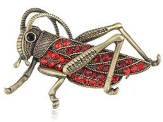 Vintage Repro Ruby Red Crystal Rhinestone Grasshopper Insect Fashion Pin Brooch Alilang. $7.99. Save 20% Off!