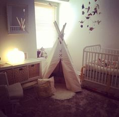 yes his room will have a teepee --- handmade teepee + origami mobile