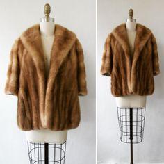 1950s mink jacket | vintage 50s mink jacket | blonde mink jacket | mink coat | fits most sizes | The Herzberg & Keystone Mink Stole by VivianVintage8 on Etsy