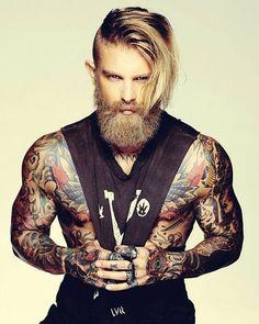 Guys with Long Hair, Tattoos and Full Beard - Hot Guys with Tattoos Cute White Boys, Pretty Boys, Hot Tattoos, Tattoos For Guys, Tatoos, Josh Mario John, Great Beards, Grown Man, Biker Style