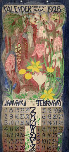 Leo Visser (Dutch, 1880-1950). Kalender voor het jaar 1928. This is so gorgeous, I wish they'd do a 2016 version.