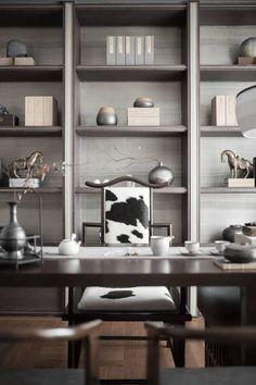Green Interior Design, Interior Walls, Interior Design Living Room, Modern Interior, Home Office Design, Home Office Decor, Home Decor, Home Study Rooms, Chinese Interior