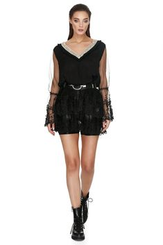 Delicate floral embroidery and a touch of sparkle make for a romantic Vero Milano black rhinestones top. With precious lace detailing, full sleeves, transluscent ruffles and a slimming golden details V-neckline, this Vero Milano black rhinestones top is this season's IT blouse. Full Sleeves, Black Rhinestone, Floral Embroidery, Coachella, Rhinestones, Ruffles, Summer Outfits, Cold Shoulder Dress, Delicate