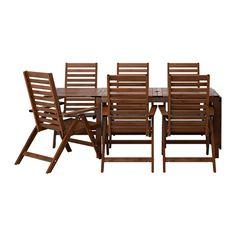 ÄPPLARÖ Bord+6 positionsstolar, utomhus - brunlaserad - IKEA