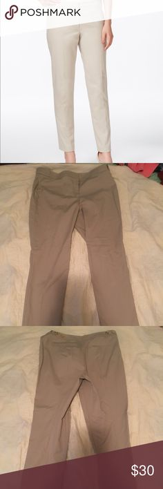 Calvin Klein Highline Pants Only worn a few times (were too big for me). Gold buttons on back, dark tan color. Calvin Klein Pants Straight Leg