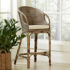 The Augustine Bar Stool's woven rattan and teak materials give a subtle nod to island living, making this a casual yet stylish option for bars and countertops. Decor, Furniture, Stool, Wicker Patio Furniture, Traditional Furniture, Chair, Rattan Stool, Wicker, Rattan Bar Stools