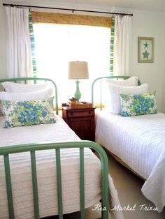 Pretty, beachy bedroom, perfect for guest rooms or kid spaces. Pretty, beachy bedroom, perfect for guest rooms or kid spaces. Beach Cottage Style, Beach Cottage Decor, Beach House, Beach Cottage Bedrooms, Bedroom Beach, Cottage Style Decor, Beach Room, Cottage Ideas, Cozy Cottage