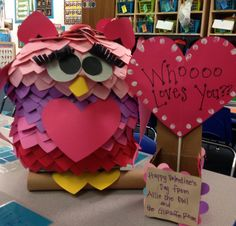 Our 2013 preschool classroom Valentine's box. It started out as a large cereal box; covered it in newspaper to give it it's owl shape;painted it grey; and then covered it with 300+ hearts that were cut with my cricut machine.  The class named her Allie!