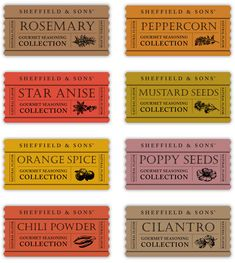 Beautiful spice labels
