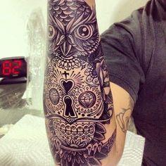 Combo Owl + Sugar Skull | inked | Pinterest