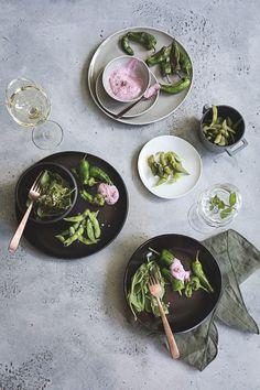 Rosenthal Junto | seelenschmeichelei.de Colours, Plates, Dinner, Tableware, Kitchen, Style, Vegetarian Starters, Fine China, Good Food