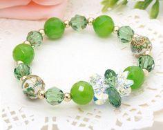 Handmade Natural Green Brazilian Agate Bracelet,Austrian Crystal Beaded Stretch Bracelet ,Crystal Bracelet,Swarovski Bracelet-B10371