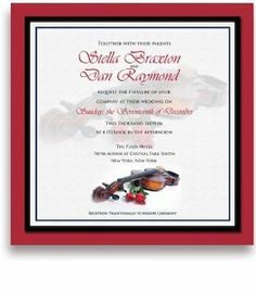 250 Square Wedding Invitations - Violin Red Roses by WeddingPaperMasters.com. $637.50. Now you can have it all! We have created, at incredible prices & outstanding quality, more than 300 gorgeous collections consisting of over 6000 beautiful pieces that are perfectly coordinated together to capture your vision without compromise. No more mixing and matching or having to compromise your look. We can provide you with one piece or an entire collection in a one stop shop...